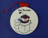 0048 Golfer snowman circle. Free shipping.   Message shown is a suggestion. Ornaments can be written with a message/name/date of your choice
