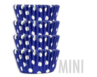Mini Royal Blue Polka Dot Baking Cups - 50 mini paper cupcake liners