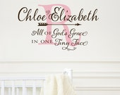 All of God's Grace in one Tiny Face - Monogram Nursery wall decal, crib decal, personalized baby decor