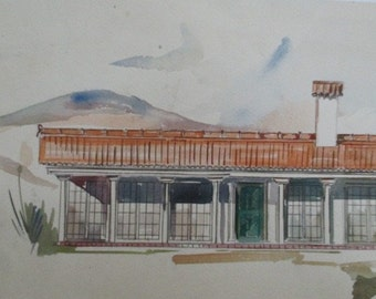 Vintage Archtectial Watercolor Set of  Renderings MCM Ranch Palm Springs Style