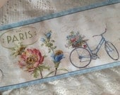 "PARIS FOREVER - VINTAGE Paris Bicycles  - Lovely French Script - Eiffel Tower - Paris Street Address -  Extra Wide 6"" -"
