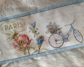 "PARIS FOREVER - VINTAGE Paris Bicycles  - Lovely French Script - Eiffel Tower - Paris Street Address -  Extra Wide 6"" -"