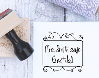 Teacher Stamp - Swirly, Custom, Teacher Gift, School Stamp, From The Classroom, From The Desk, Wooden Stamp, Rubber Stamp, Self Inking Stamp