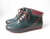 Vintage 80's Two Tone Rubber  Rain Boots. Size 9