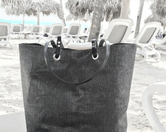Black Tote Bag, Black Bag, Casual Tote Bag, Tote, Metallic Linen Tote Bag, Cool Bag, Handbags, Beach Bags,