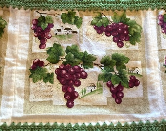 VINEYARD GRAPES Crochet Towel VALANCE / Curtain For Kitchen, Bathroom, Or  Back Door Window