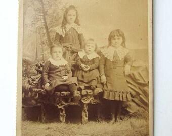 Antique Victorian Cabinet Photograph, Four Children in Victorian Outfits w Big Lace Collars, Original Photo, Victorian Children