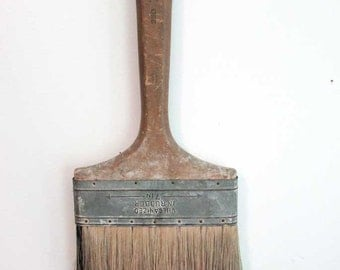 Vintage 1950's  Very Large House Painter's Bristle Brush with Old Surface Wooden Handle, Use or Display, 16 Inches Long for Wall Decor