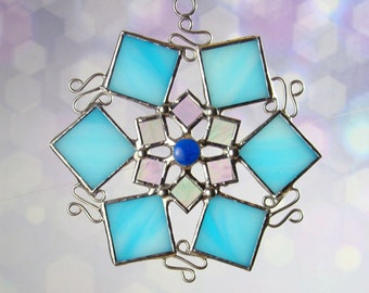 Blue Stained Glass Scrollwork Snowflake Ornament