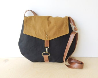 satchel • black and brown crossbody bag • black canvas - bourbon brown waxed canvas - cross body - neutral - simple cross body bag • scout