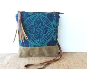 weekdayer • every day crossbody bag - geometric print • blue and teal geometric floral print - screenprint - waxed cavnas • talavera