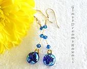 Sapphire Blue Dangle Earr...