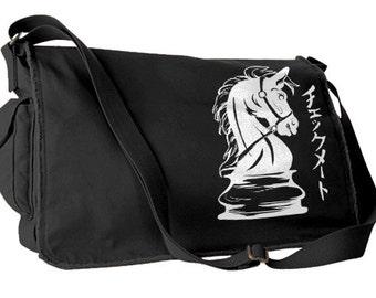 Steampunk Bag Chess Knight Horse messenger bag chess piece knight hipster laptop bag japanese bag geek messenger bag