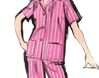 1960s Pajama Pattern Advance Long Pants Vintage Sewing Women's Misses Size 14 Bust 34 Inches