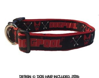Deadpool-inspired dog collar