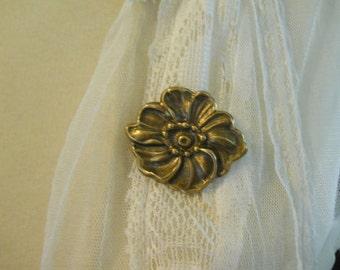 Brass Flower Pin Brooch Dark Metal Fine Detail Garden Flower Jewelry Organic Nature Pin Secure Rolling Clasp Flower Power Gardener's Gift