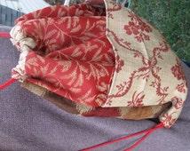Cinch Sack - BackPack - Drawstring Bag - Upcycled Materials - brick red & tan ferns