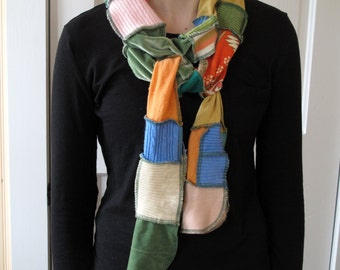 Patchwork Scarf - Upcycled and Eco Friendly - Peek of Spring