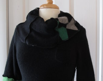 Recycled Cashmere Cowl Tunic Sweater -  Eco Friendly Style - Size Small