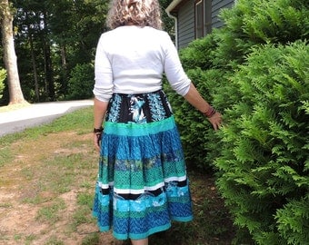 Two Tier Full Circle Long Bohemian Patchwork Skirt