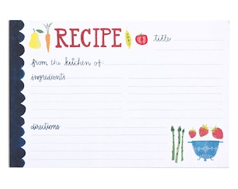 Fruits and Veggies Recipe Cards - Set of 15 // 1canoe2 // hand illustrated