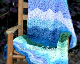 Crochet Chevron Baby Blanket Gender Neutral Baby Gift Carseat Ripple Blankie Lovey Photo Prop Striped Blue Green Purple Afghan READY TO SHIP