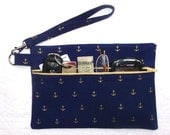 Blue Gold Anchors Wristlet, Nautical Theme Clutch, Boating Small Front Zippered Purse, Ladies Wallet, Makeup or Phone Holder, Camera Bag