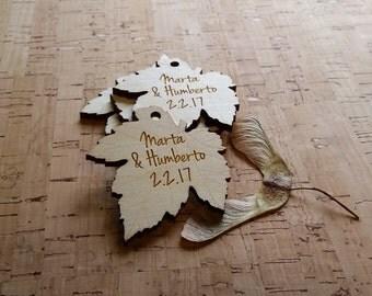 100 wood engraved leaf shaped hang tags