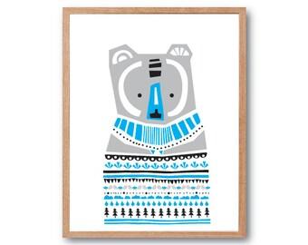 Bear nursery decor, Bear Sweater Art Print, Bear illustration, Safari Nursery, Animal Art print, Safari Animal, Kids Art