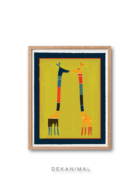 Giraffes in LOVE Art Print, Safari Nursery, Safari Giraffe, Animal illustration, NurseryPrint, Children book illustration, Kids room art