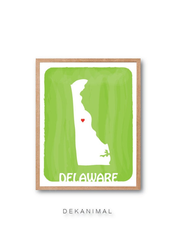 DELAWARE MAP - Lime - Personalized Custom Color Watercolor Style Love Wedding Birthday Anniversary GIft Children Kids poster
