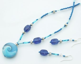 SET - Turquoise & Blue Spiral Artist Polymer Bead Pendant Necklace and Earrings