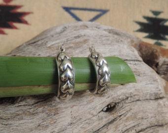 Vintage Sterling Silver Southwestern Hearts Hoops Earrings