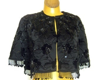 1950s 1960s Exquisitely Beaded Cape Floral Sequin and Dangling Bead Decoration / Saks Fifth Avenue Label