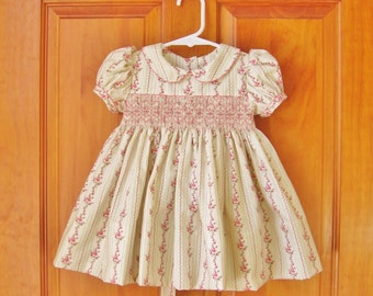 Baby girl, smocked dress, shades of rose, ivory dress, size 12 Mo, ready to ship, sage green, Easter, baby gift, OOAK, heirloom, party dress