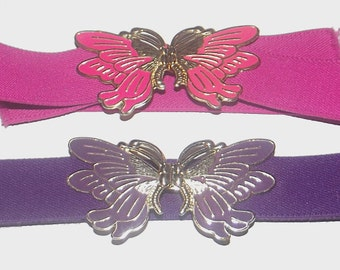 1980s belts / vintage 80s belts / enamel / OSFM / Butterfly Wings Set of Two Pink and Purple Belts