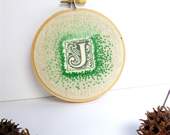 Monogram J hoop art, free style hand embroidery, home decor french knot stitch wall art