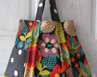 Tote, Shoulder bag, Shopping bag colorful flowers and polka dots hand made