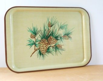 Vintage Metal Pine Cone Tray • Large Metal Serving Tray • Mid Century Yellow Faux Bois