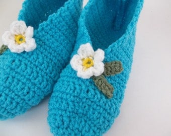 Crochet  Slippers for Women Stretchy One Size Turquoise  with White  Flower
