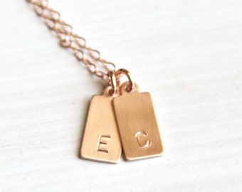 Mini Tag Initial Necklace Personalized Necklace 1, 2 or 3 Initial Necklace Monogram Personalized Jewelry Rose Silver or Gold Initial Jewelry