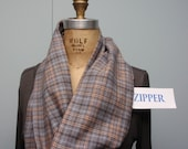 Secret Agent Scarf Infinity Design with Zipper Pocket Paid Flannel