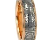 Damascus Steel Wedding Band for Her, Unique 14k Yellow Gold Ring, Stainless Steel Jewelry