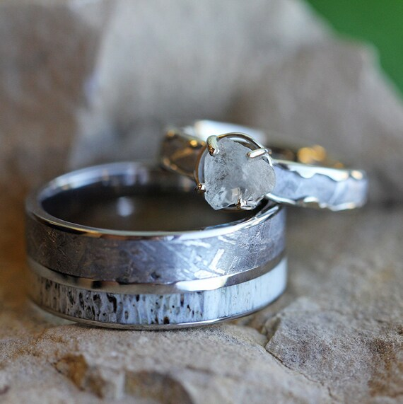 Rough Diamond Engagement Ring Set With Men's Deer Antler