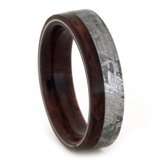 meteorite wedding band mens or womens wood ring with. Black Bedroom Furniture Sets. Home Design Ideas