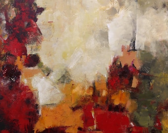 """MODERN ABSTRACT PAINTING """"Festive"""" Acrylic on large 40"""" x 40"""" gallery wrap canvas Original Ready to Hang Art by Elizabeth Chapman"""