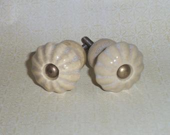 Farmhouse Cottage Cream Tan Scalloped Glazed Ceramic Handles Drawer Knob Pulls Set of 2