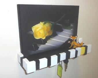 Key Rack #WallShelf #NinePegs #OOAK #PianoKeyboard #Keys #JewelryHolder