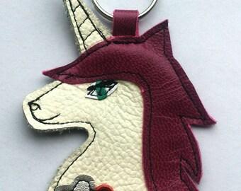 Handmade recycled leather unicorn fantasy keychain keyring. FREE SHIPPING