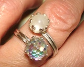 vintage shimmering iridescent disco ball silver bypass ring 6 adjustable